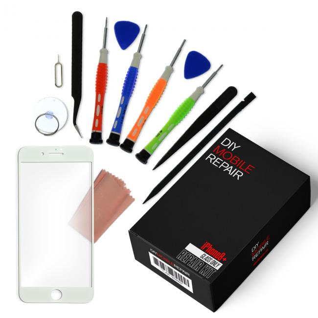 iPhone 8 Plus Repair Kit with Replacement Glass Screen + Tools + Video Guide - White