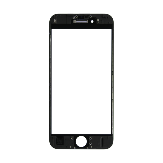 iPhone 6s Glass Lens Screen & Frame - Black (Hot Glued)