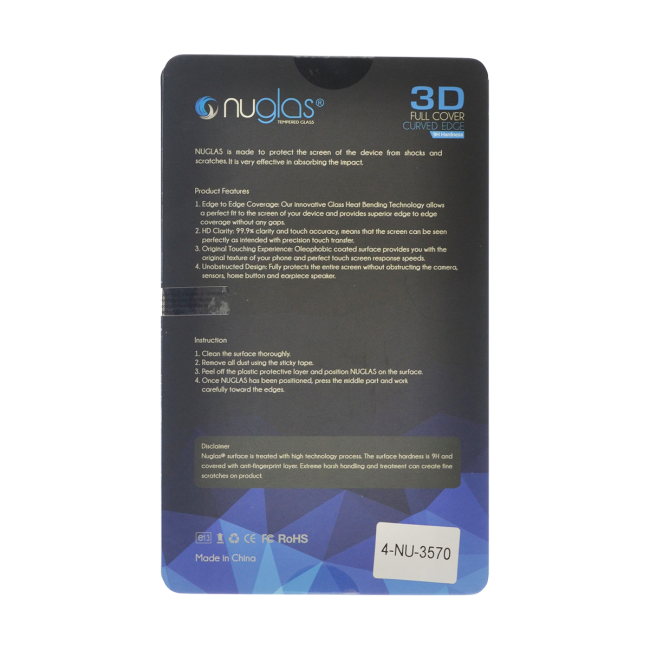 NuGlas Samsung Galaxy Note 8 Tempered Glass Screen Protector (3D)