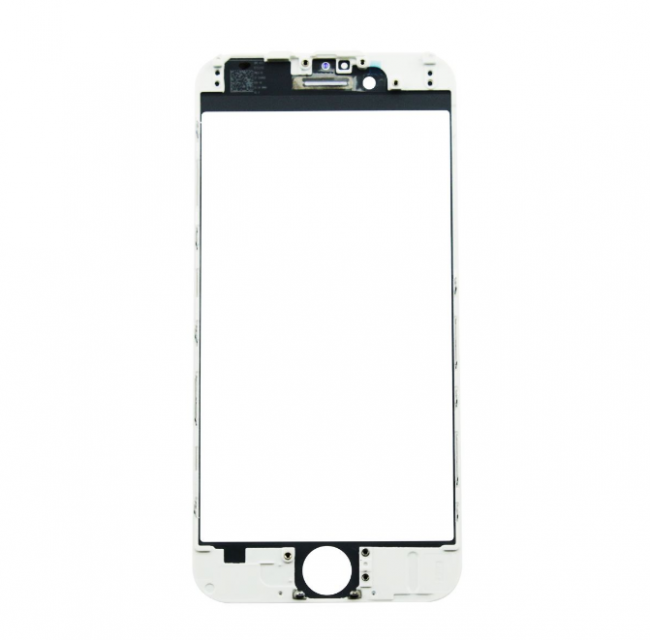iPhone 6 Glass Lens Screen & Frame - White (Hot Glued)